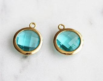 A2-043-G-BZ] Blue Zircon / 12mm / Gold plated / Round Glass Pendant /  2 piece(s)
