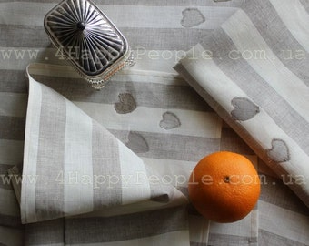 Stripes with Hearts 100% Natural Flax Linen Tablecloth, Grey/white stripes combination