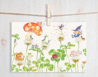 Ladybug Story Art Postcard