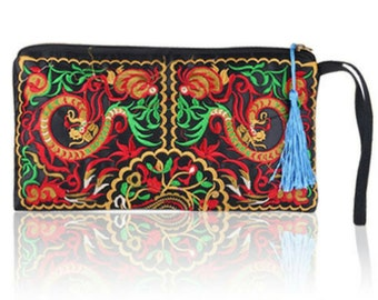 SALE Last ones Bohemian/Clutch/Wallet New Hippie Style. COLOURFUL FLOWERS Etnic embroided
