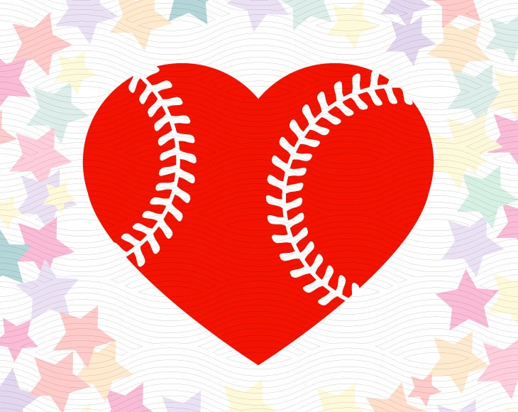 Baseball Heart Cutting File Svg Eps Dxf Studio3 Sport
