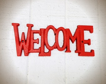 BOLD summer WELCOME sign // bright fire tangerine orange // hand painted summer spring decor // funky bright retro decor