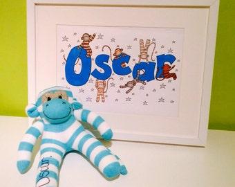 Personalised sock monkey gift set