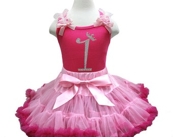 Hot Pink and Pink Rhinestone Princess Crown Number  Princess Pettiskirt Set Ages 1-8, Little Girl, Toddler, Big Girl