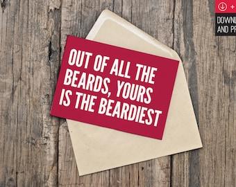 Printable Valentine's Day Card / Funny Valentine / Beard / Naughty Valentine