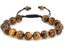 Natural Genuine Tiger Eye Lucky Gemstone Spiritual Meditation Energy Healing Bead Bracelet Fits all Men Women adjustable