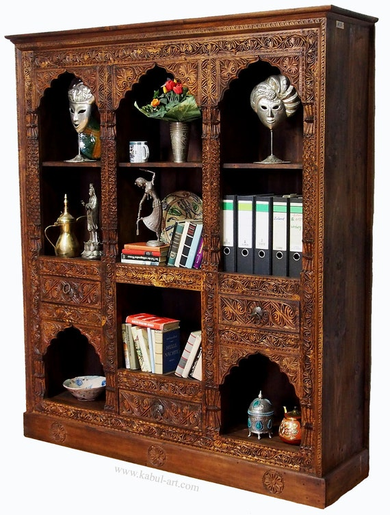 Hand Carved Bookshelf ~ Antique look hand carved orient vintage wooden bookshelf shelf