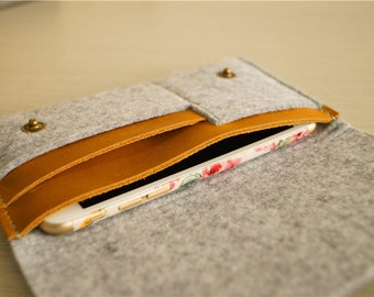 Light grey felt iphone 6 sleeve , phone sleeve , iphone 6 , phone sleeve 5s , felt iphone case, iphone pouch , felt iphone 6 sleeve #226