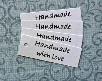 50 Handmade with Love tags price tags gift tags hang tags mini tags business supplies product tags jewelry tags simple label merchandise tag