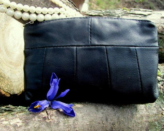 Black Leather Cosmetic Bag, Beauty Makeup case, Cosmetic pouch,Handmade Purse, Leather bag, Beauty Makeup Case, leather clutch, Gift For Her
