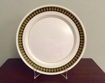 SALE!  Vintage Midcentury Mikasa Mediterrania Avocado Green & Black Diamond Pattern Round Dominique Serving Plate / Platter