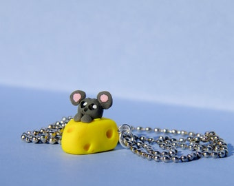 Miniature cheese mouse charm