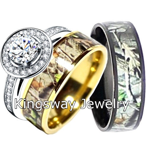 Camo Wedding Ring Set For Him And Her Titanium Silver Black