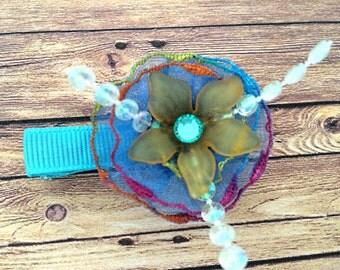 Unique flower blue hair clip