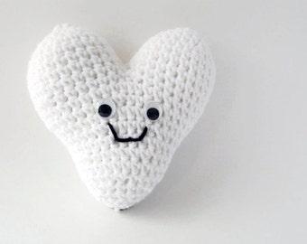 Stuffed white heart plush amigurumi face