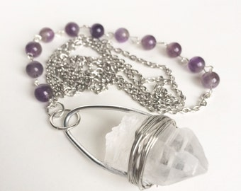 Quartz Necklace With Amethyst Beads