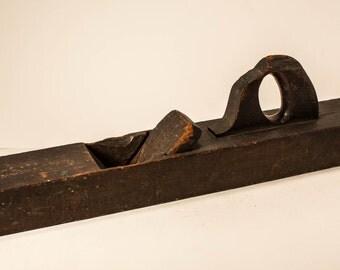 Vintage Large Wooden Woodworking Hand Plane, Primitive Tool Rustic