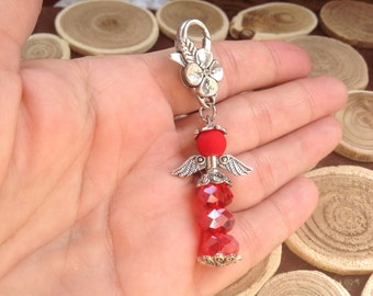 Red Crystal Angel Lucky Angel Key Chain Jewelry Bag Hand Angel Gift Angel Protector Guardian Gift for Her Brave Angel Modern Charm Wing 2016