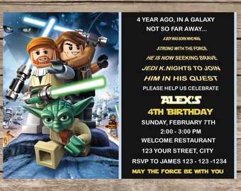 Lego Star Wars Invitation, Lego Star Wars Invite, Lego Star Wars Printable Customized Card Invitations Party P43