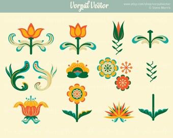 Flower Clipart, Clip Art, Folk, Floral, Hex Symbol, Fraktur, Scrapbooking - Instant Download
