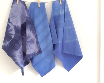 Shibori dyed tea towel