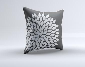 flower throw pillow, grey pillow, throw pillow, grey flower pillow, kids pillow, 16x16, 18x18, 20x20,14x14 modern throw pillow