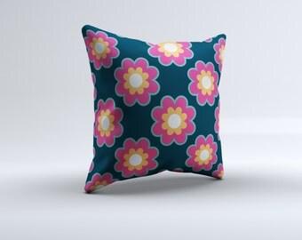modern flower throw pillow, pink, blue, decorative pillow, 16x16, 18x18, 20x20,14x14,  flower throw pillow. girl throw pillow