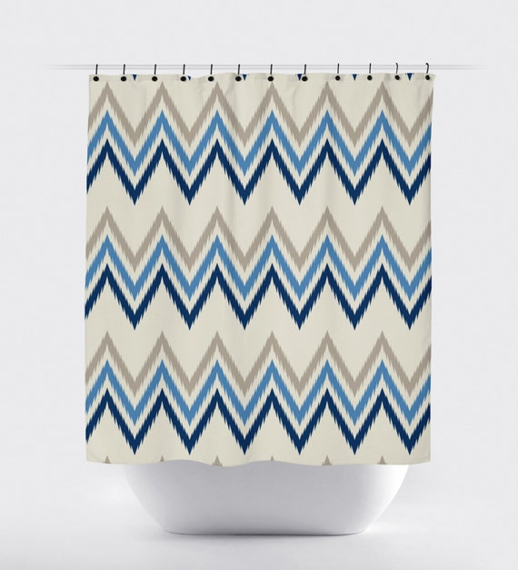Aztec Tan Shower Curtain Modern Shower Curtain Chevron Tan