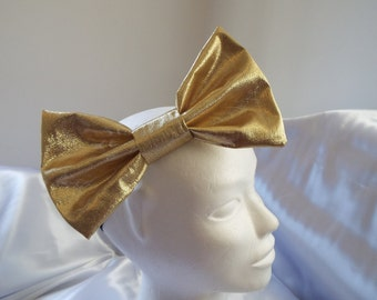 Gold or silver large 7 inch big bow headband hair bow
