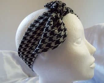 Black and white houndstooth dogtooth chiffon hair wrap head band head scarf bandana headwrap
