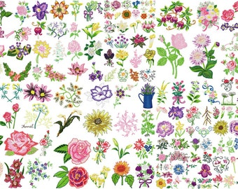 FLOWERS designs for embroidery machine, instant download
