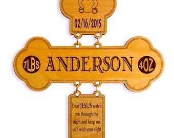 Bed Time Prayer-Name-Birth info Nursery Wall Cross Gift for Child Dedication-Baby Naming-Baptis-Christening-Baptism Custom Gift.