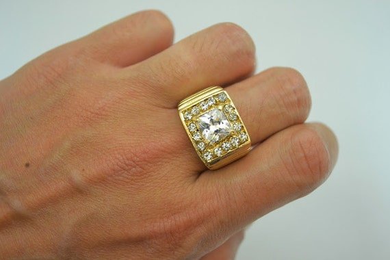 14k Gold Overlay Square Cut Cz Big 3 01 Ct Rapper Style Ring