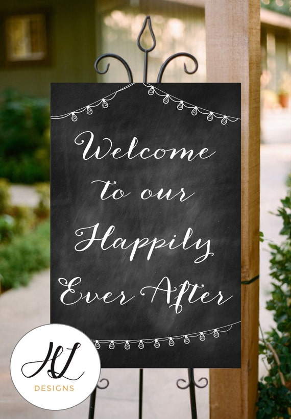 Instant Download Printable Chalkboard Wedding Sign Welcome