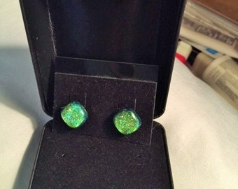 Earrings, custom made from fused Dichoric glass
