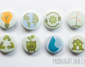 Ecology / environmental / eco-friendly - set of 8 button badges (25mm)