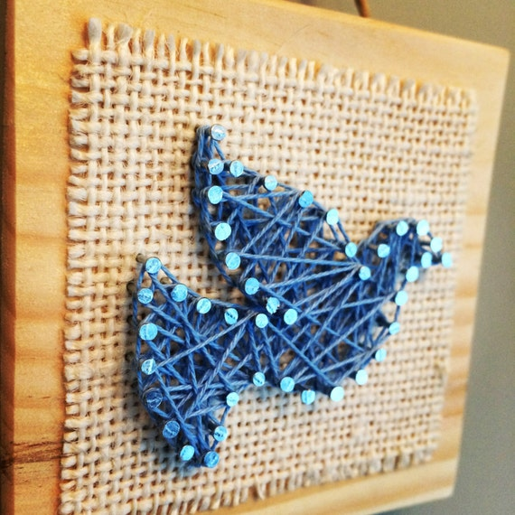 Items Similar To Blue Bird String Art Home Decor On Etsy