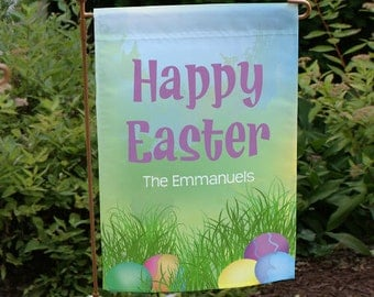 Personalized Happy Easter Decorative Easter Eggs Garden Flag