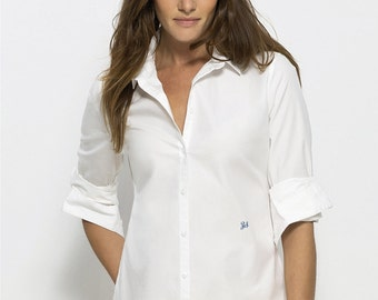 SHIRT bio women embroidered cotton 100% organic white wire to wire - embroidery custom