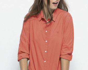 Elegant slim fit shirt 100% organic cotton fair trade Apricot Embroidered heart