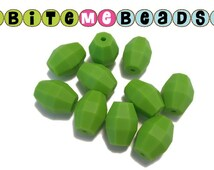 Lime Silicone Beads  (20mm Oak Barrel) - Food Grade Loose Teething Baby Chew Jewelry Beads Teething Necklace Teether Toy DIY Supplies