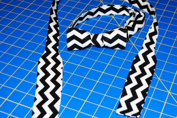 Black and White Men's Adjustable Skinny Bow Tie