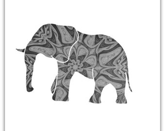 Elephant Print, Monotone Art, Elephant Art, Wildlife Art, Animal Art, Black And White Art