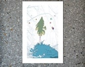 """Night conifer - Color print, 5 x 3"""" with 1"""" border"""