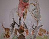 English Fox Hunt master and his hounds. Unmounted