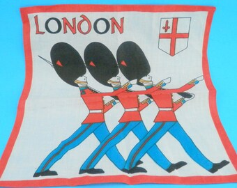 1980's Souvenir Handkerchief from London with 3 Marching Members of HM The Queen's Guard or Queen's Life Guard