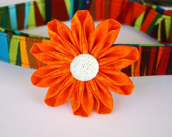 Orange Mottled Fabric Kanzashi Daisy Flower Dog Collar Accessory