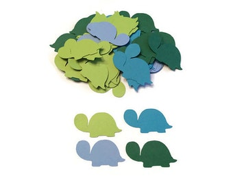 100 Assorted Blue and Green Turtle Confetti, Die Cut Turtle, Baby Shower, Turtle Theme Party, Turtle Décor, Turtle birthday party