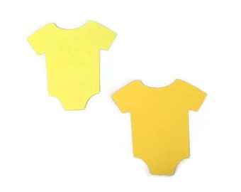 25 Assorted Yellow Onesie Tags, Die Cut Onesie, Baby Boy Shower, Baby Gift Tags, Advice Tree Tags, Favor Tags, Baby Shower Games
