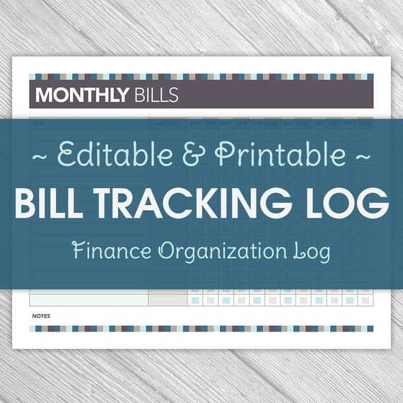Printable Editable Monthly Bill Tracking Log - Home Finance, Yearly ...